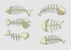 Caricatures d'os de poisson de vecteur isolés