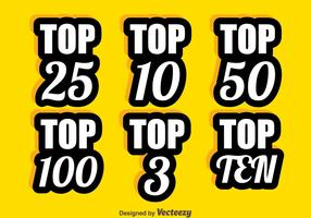 Vecteur de collection de nombres de cartes top