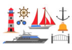 Ensemble d'icônes de port vecteur