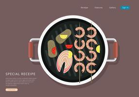 Comment faire cuire les crevettes. Illustration de cuisine de fruits de mer. vecteur