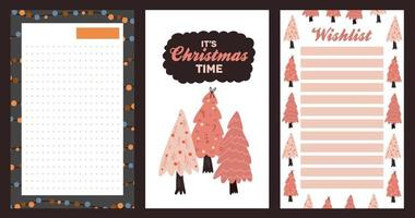 autocollant de vacances de Noël, journal, jeu de notes