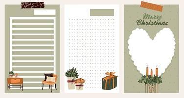 autocollant de vacances de Noël, journal, jeu de notes