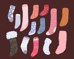 Éléments de chaussette de dessin animé mignon de noël vecteur