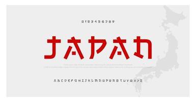 police de l'alphabet de style moderne japonais vecteur