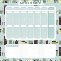 planificateur quotidien hebdomadaire d'hiver dans un style scandinave