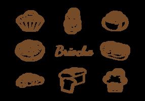Vecteur de brioche icônes