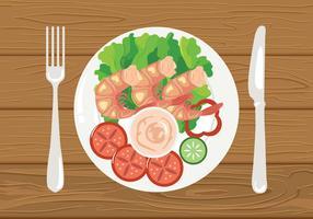 Vecteur d'Illustration de crevettes frites