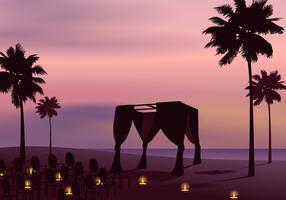 Vecteur de mariage de plage décorative