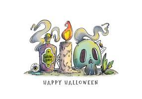 Scène d'Halloween vintage avec vecteur d'éléments de sorcière