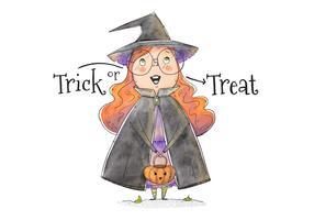 Mignonne petite fille avec un costume de sorcière ou un traitement vecteur