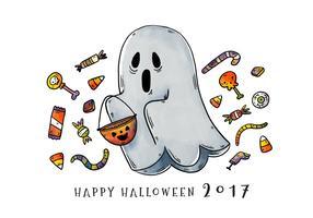 Trick mignon et effrayant ou traitement de vecteur fantôme