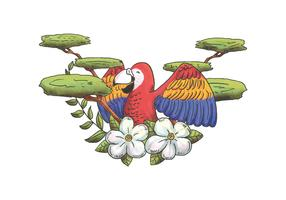 Vecteur de caractère Aquarelle Macaw