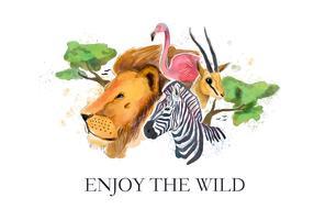 Vecteur de style aquarelle Safari faune