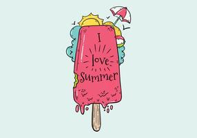 Crème glacée mignonne avec parapluie pour le vecteur de l'été