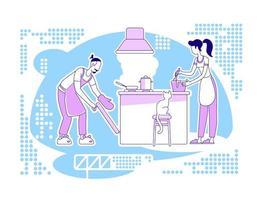 cuisiner ensemble scène vecteur