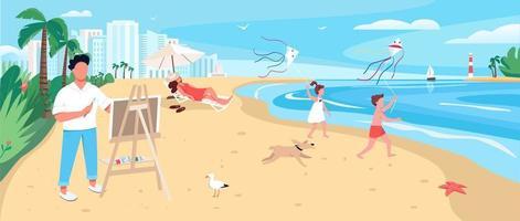 Peinture de l'artiste à la plage de sable exotique