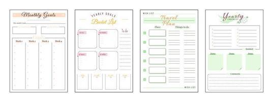 objectifs et souhaits ensemble de pages de planificateur minimaliste