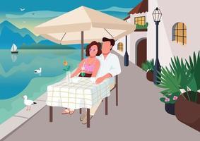 couple prenant le petit déjeuner au café de la station balnéaire