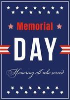 affiche de la journée commémorative nationale américaine vecteur