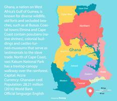 Carte colorée du Ghana avec les régions