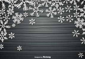 Modèle de fond en bois de vecteur avec des flocons de neige
