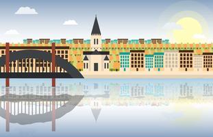 Lyon ville paysage plat Illustration vecteur