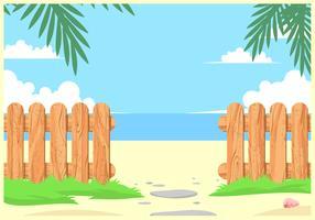 Clôtures en bois texturées sur le vecteur de plage