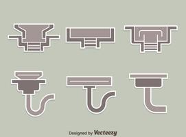 Collection de gouttières sur le vecteur gris