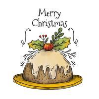 Gâteau de Noël mignon vecteur