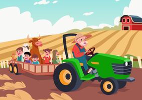 Hayride dans une ferme vecteur