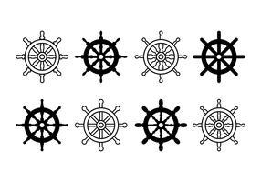 Icônes de jeu de roue de bateau vecteur