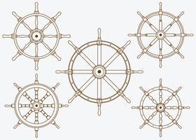 Navires Roue Set ligne vecteur