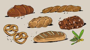 Boulangerie française Challah dessinés à la main Vector Illustration