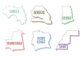 Carte d'Afrique de l'Ouest vecteur
