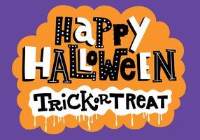 Truc d'Halloween ou traiter le vecteur de lettrage