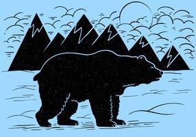 Vecteur d'ours de montagne hiver