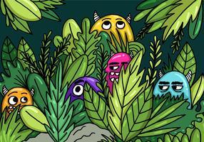 Monstres se cachant dans le vecteur de la jungle