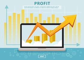 Bénéfice des revenus d'entreprise avec ordinateur portable vecteur