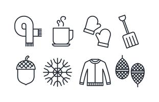 Pack d'icônes d'hiver vecteur