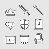 King Royal Set Icônes vecteur