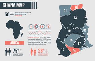 Ghana Carte infographique vecteur