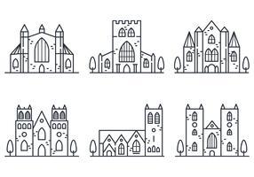 Icône linéaire de l'abbaye vecteur