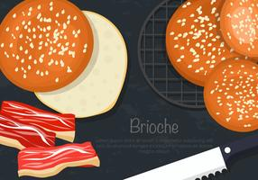 brioche burger chignon vector set