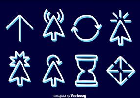Souris curseur ligne icônes vectorielles vecteur