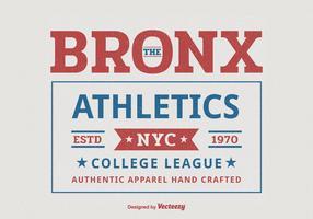 Bronx New York College Athlétisme Sport Typographie T-Shirt Vector Design