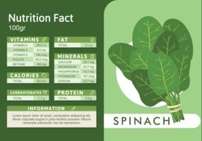Faits nutritionnels aux épinards vecteur