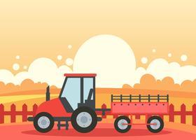 Hayride dans une ferme au coucher du soleil