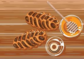 Rosh Hashana ou Challa au miel sucré vecteur