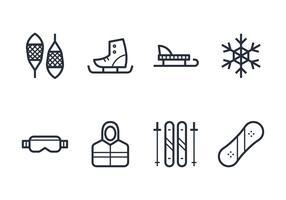 Jeu d'icônes d'hiver vecteur