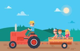 Les enfants apprécient Hayride sur une route de campagne vecteur